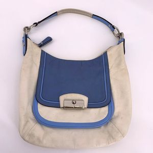 Coach White Blue Genuine Leather Shoulder Bag